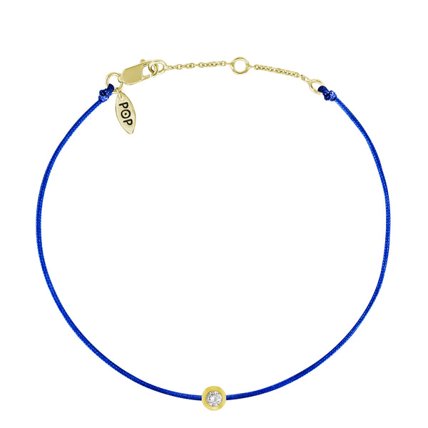 Bezel Set Diamond Bracelet, Cobalt Blue Silk Cord, 14K Yellow Gold Vermeil
