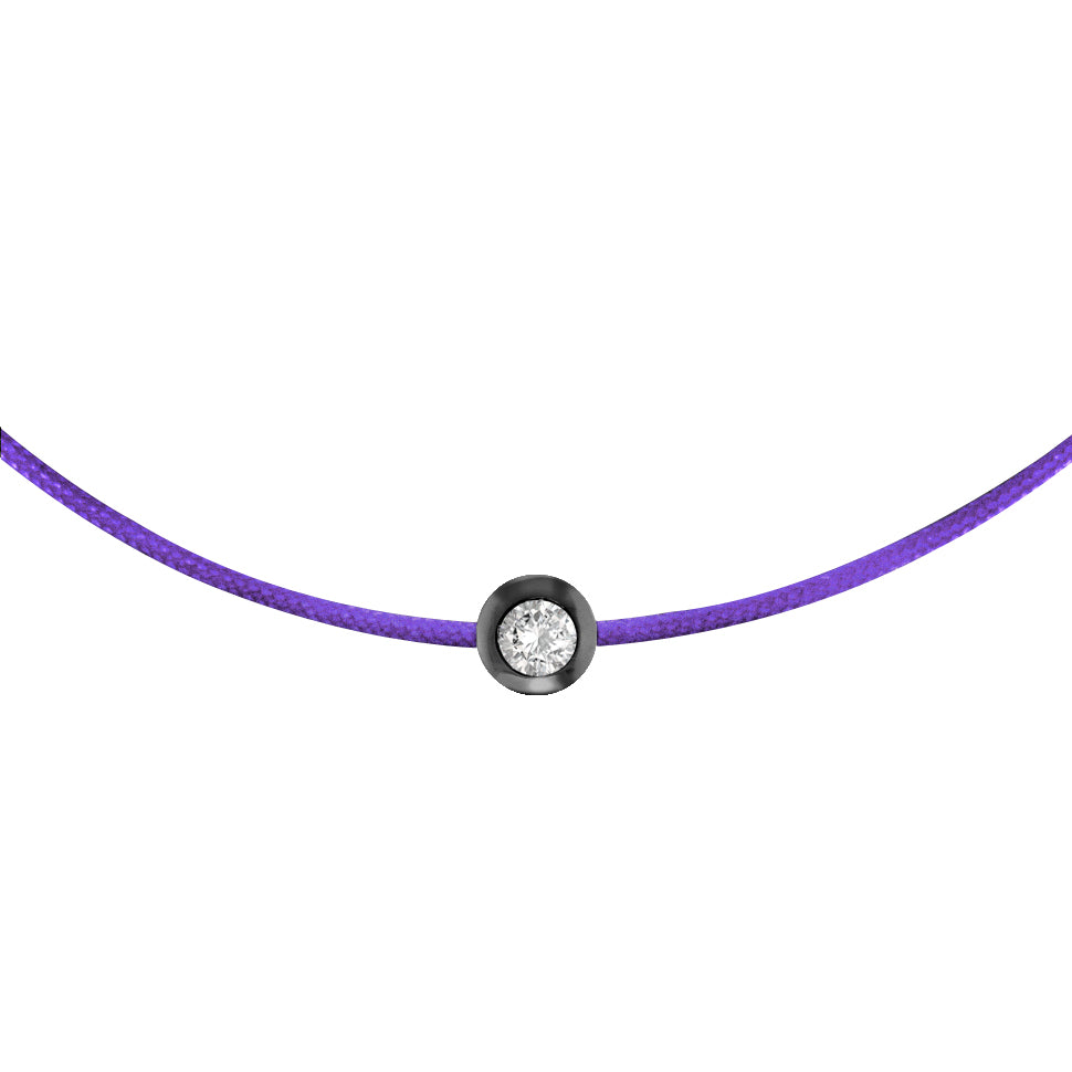 Bezel Set Diamond Bracelet, Purple Silk Cord, Blackened Silver
