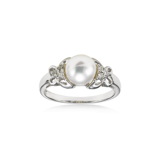 Freshwater Cultured Pearl and Diamond Ring, 14K White Gold