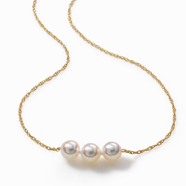 Pearl By Pearl Starter Necklace, 3 Akoya 6MM Pearls, 16 inch Length, 14K Yellow Gold