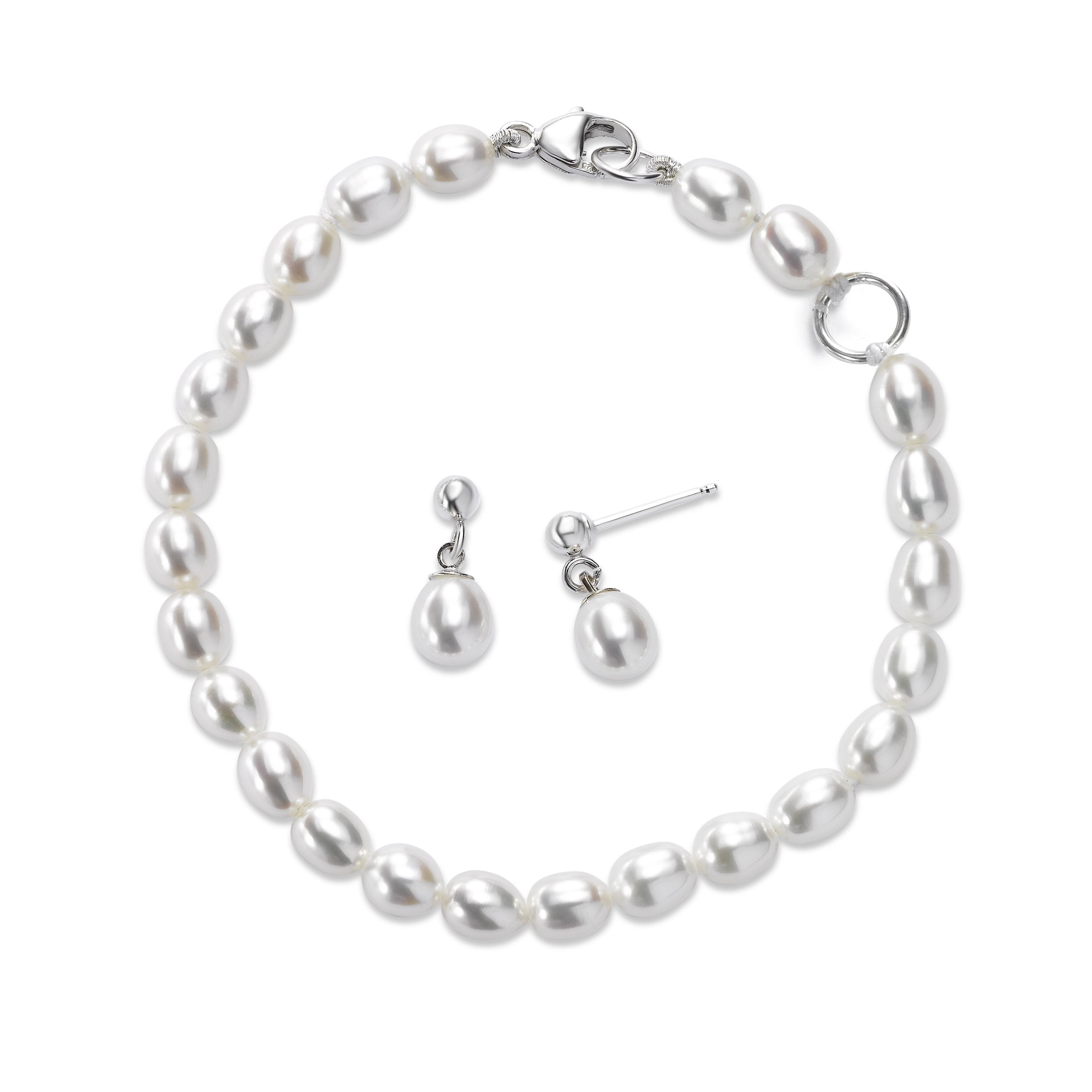 Child's Cultured Pearl Bracelet and Earrings Set, Sterling Silver