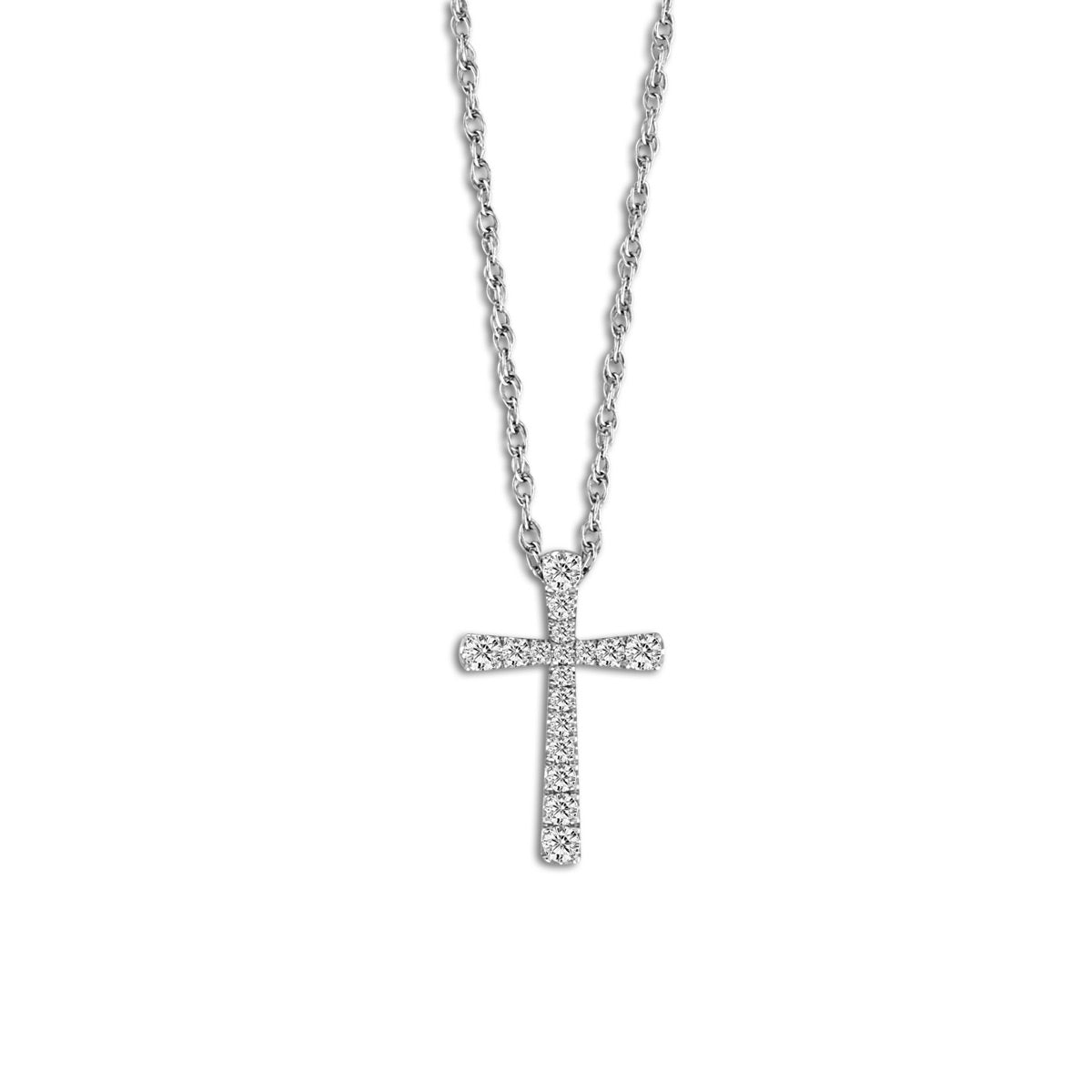 Classic Diamond Cross Pendant, 14 Karat White Gold