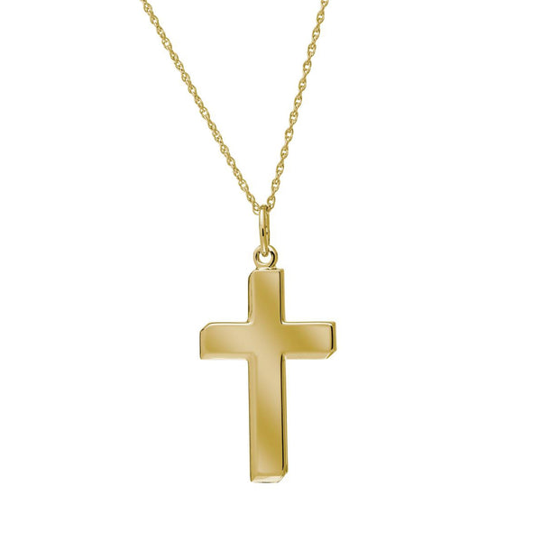 Bold High Polished Cross, 14K Yellow Gold