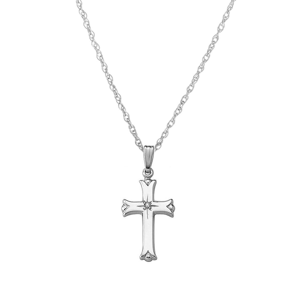 Cross with Flared Ends and Diamond Accent, 14K White Gold