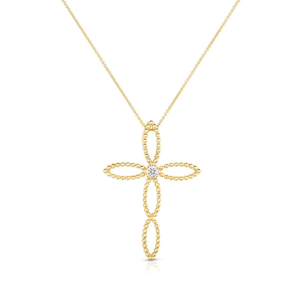 Open Design Cross with Diamond Center 1.5-Inch, 14K Yellow Gold