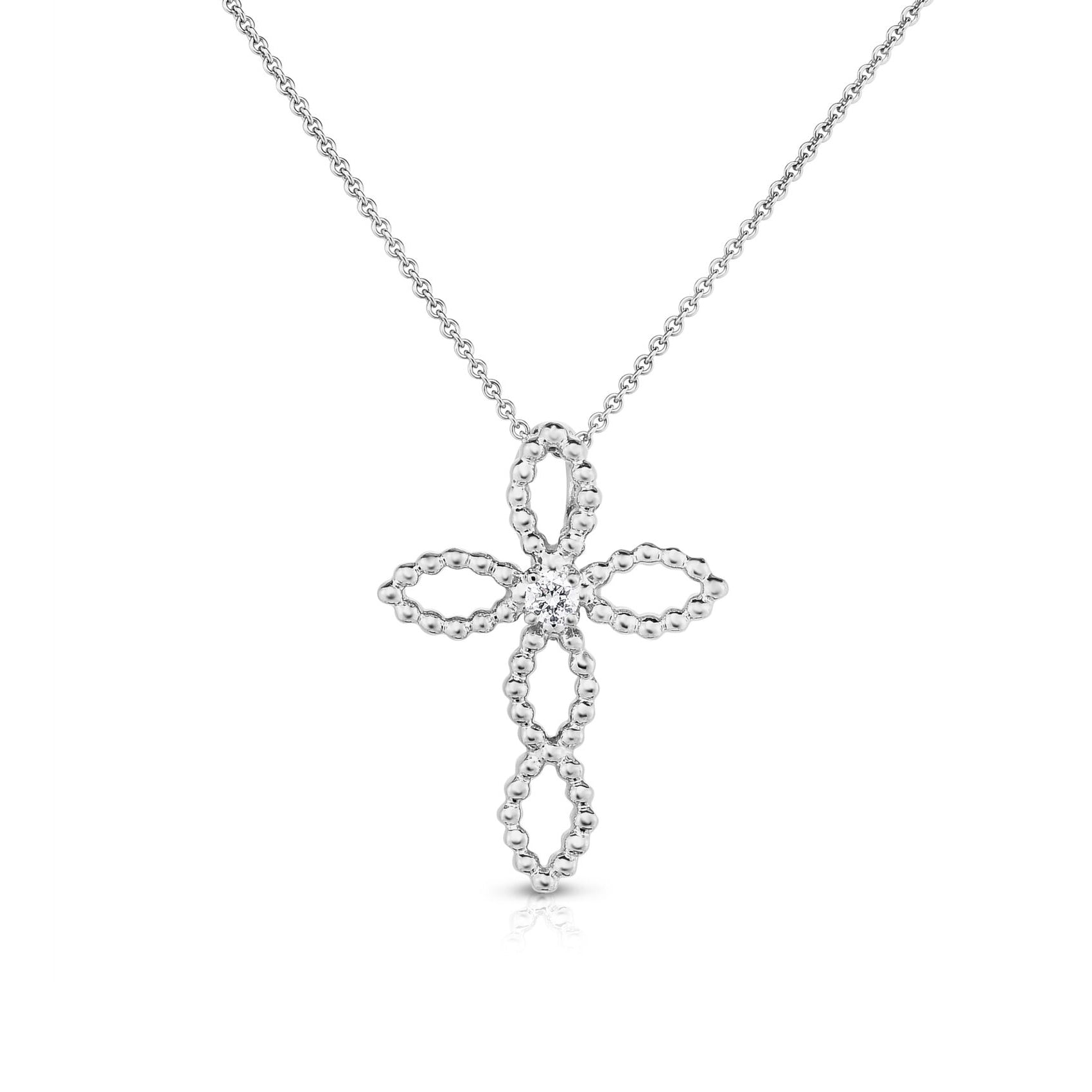 Open Design Cross with Diamond Center, 14K White Gold