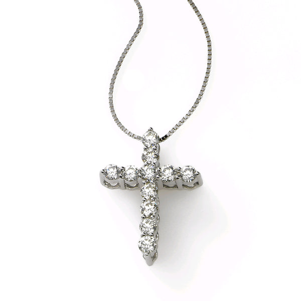 Shared Prong Diamond Cross, .50 Carat, 14K White Gold