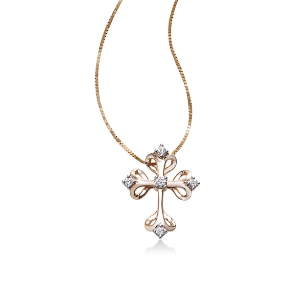 Gothic Diamond Cross Pendant, 14K Rose Gold