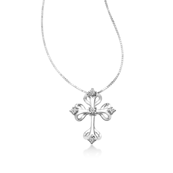 Gothic Diamond Cross Pendant, 14K White Gold