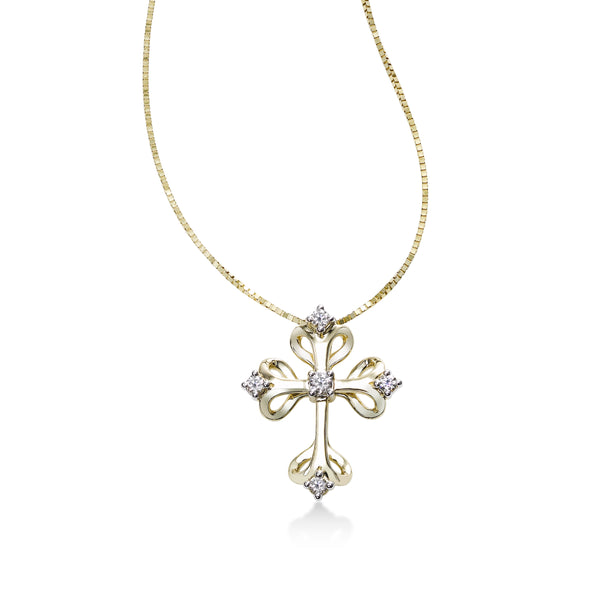 Gothic Diamond Cross Pendant, 14K Yellow Gold