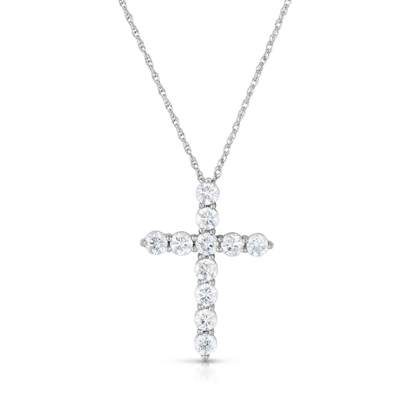 Shared Prong Diamond Cross, 2 Carats, 14K White Gold