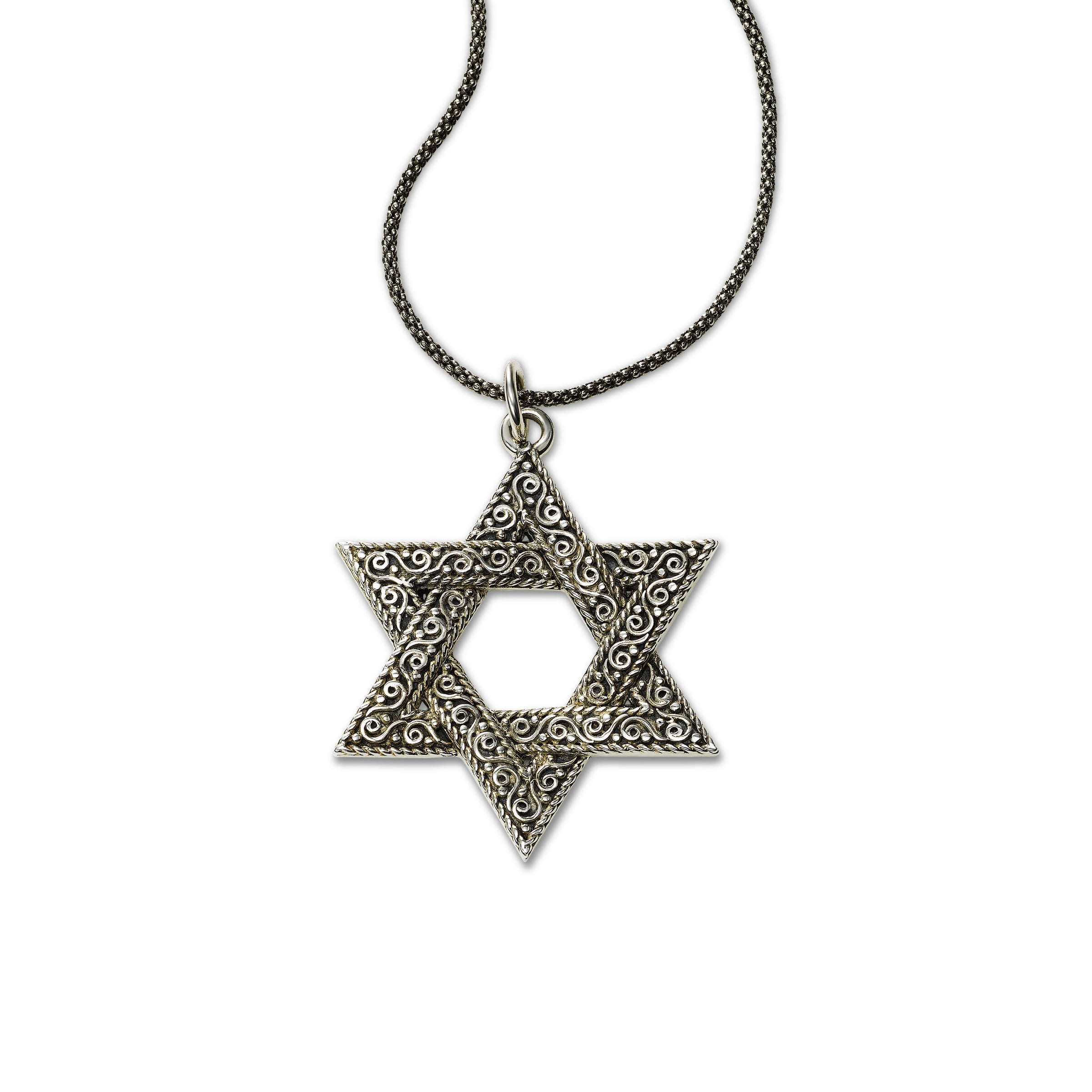 Intricately Detailed Star of David Pendant, Sterling Silver