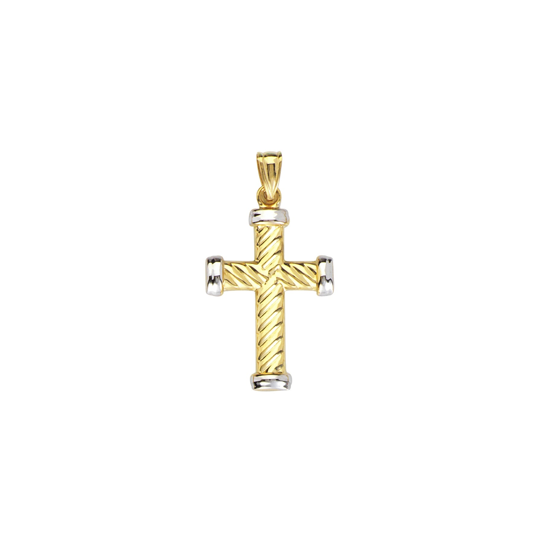 Two Tone Rope Design Cross Pendant, 14 Karat Gold