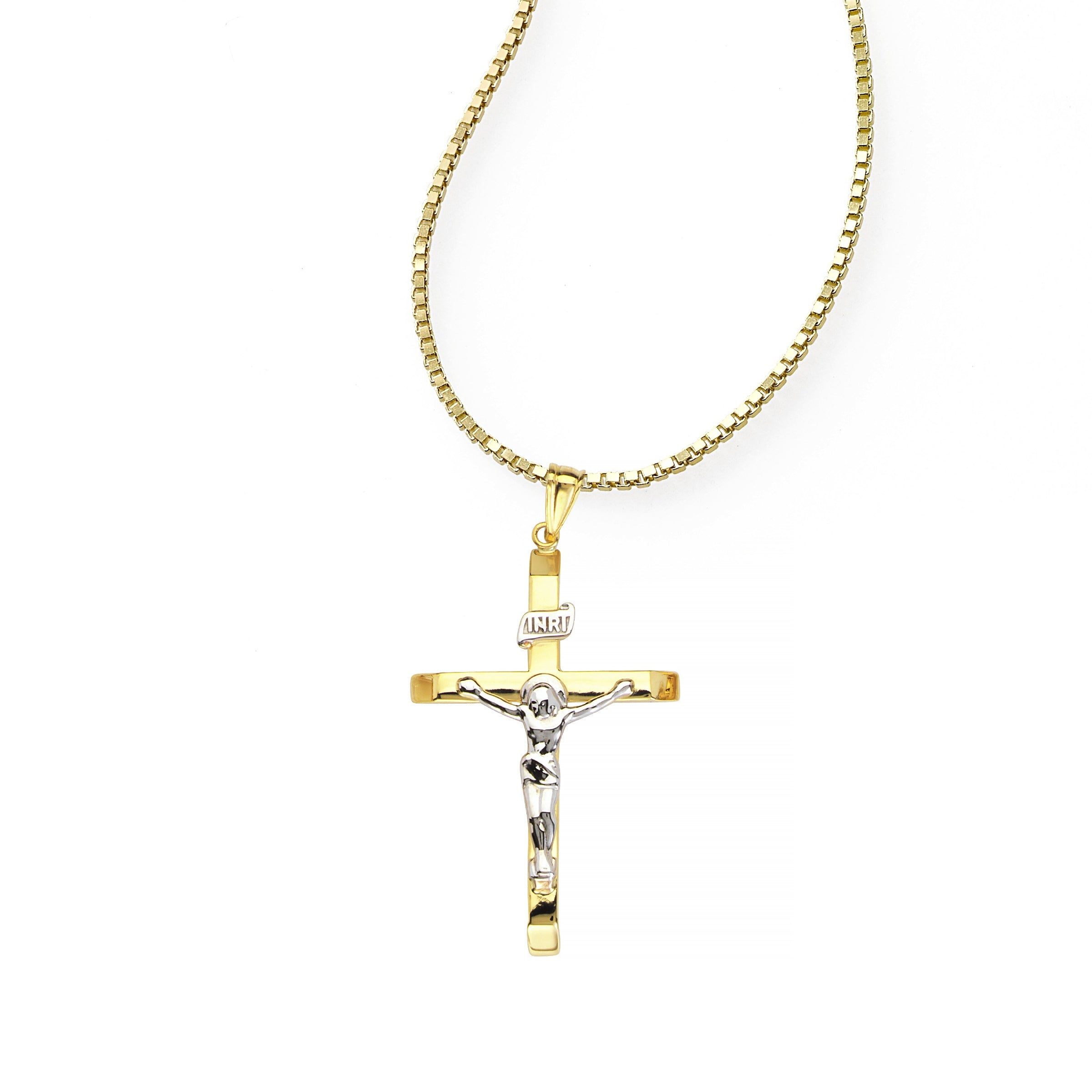 Two Tone Crucifix Cross Charm, 14 Karat Gold
