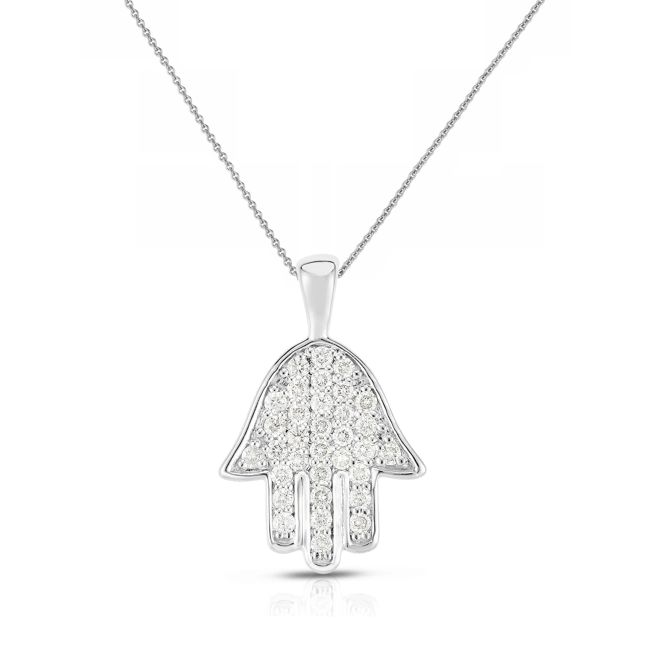 Diamond Hamsa Pendant, 14K White Gold