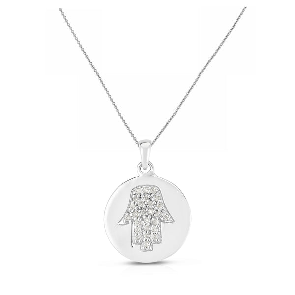 Diamond Hamsa in Disc Pendant, 14K White Gold