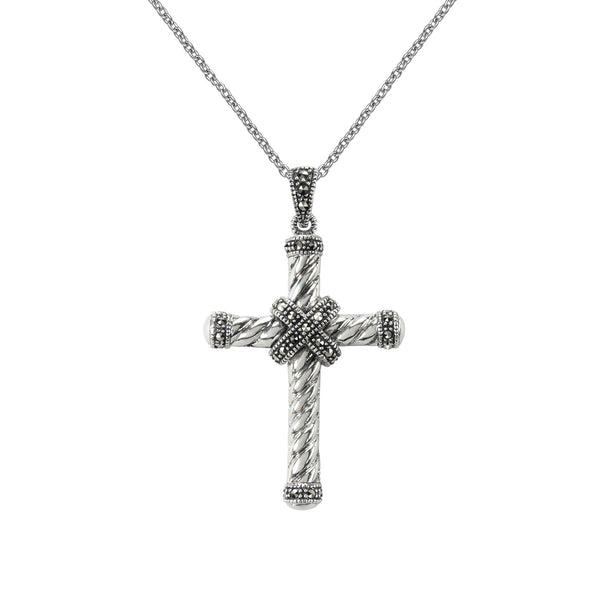 Twist Design Marcasite Cross Pendant, Sterling Silver