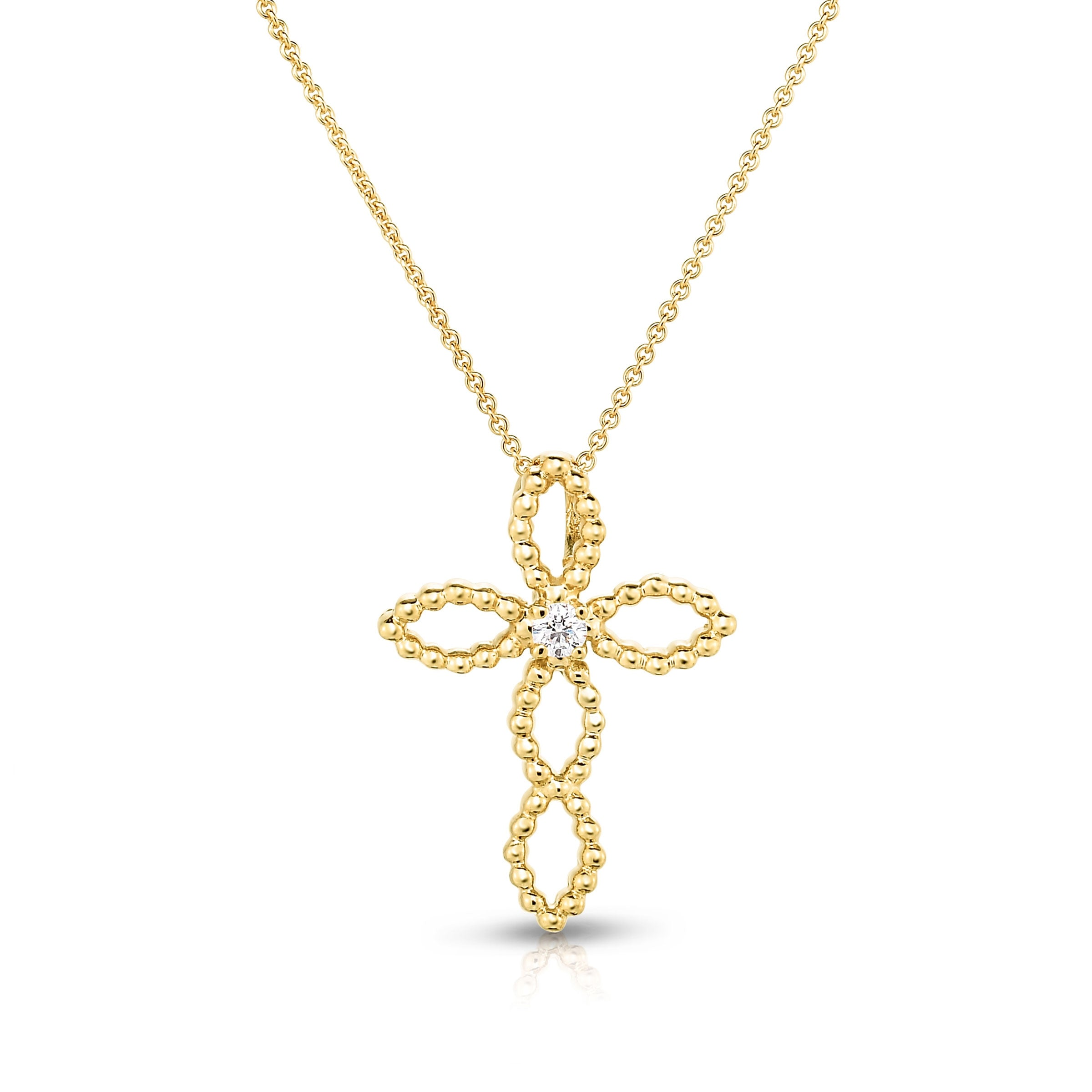 Open Design Cross with Diamond Center .75-Inch, 14K Yellow Gold