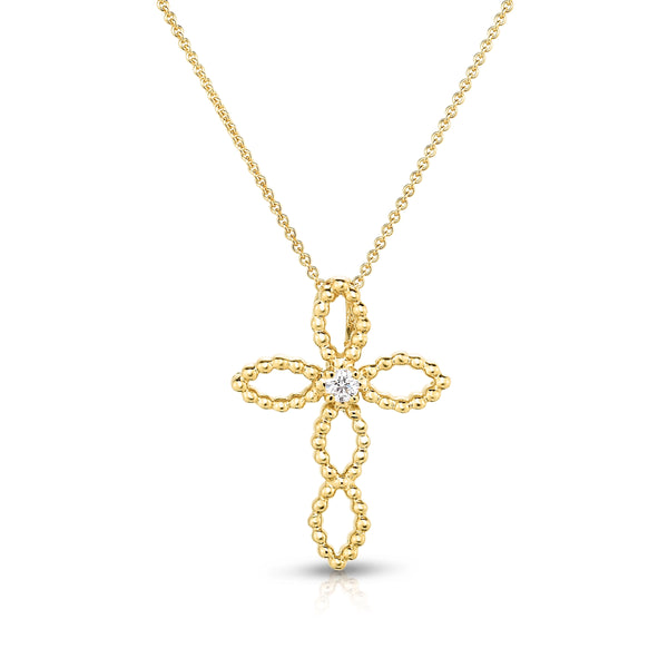 Open Design Cross with Diamond Center, 14K Yellow Gold