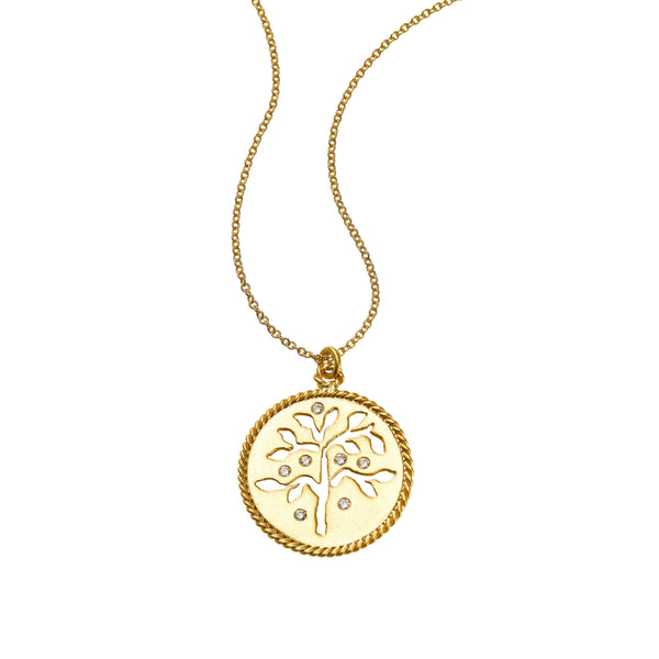 Tree of Life Diamond Pendant, 14K Yellow Gold