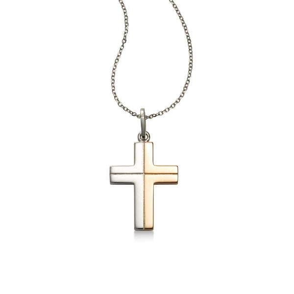 Modern Two Tone Cross Pendant, 14 Karat Gold