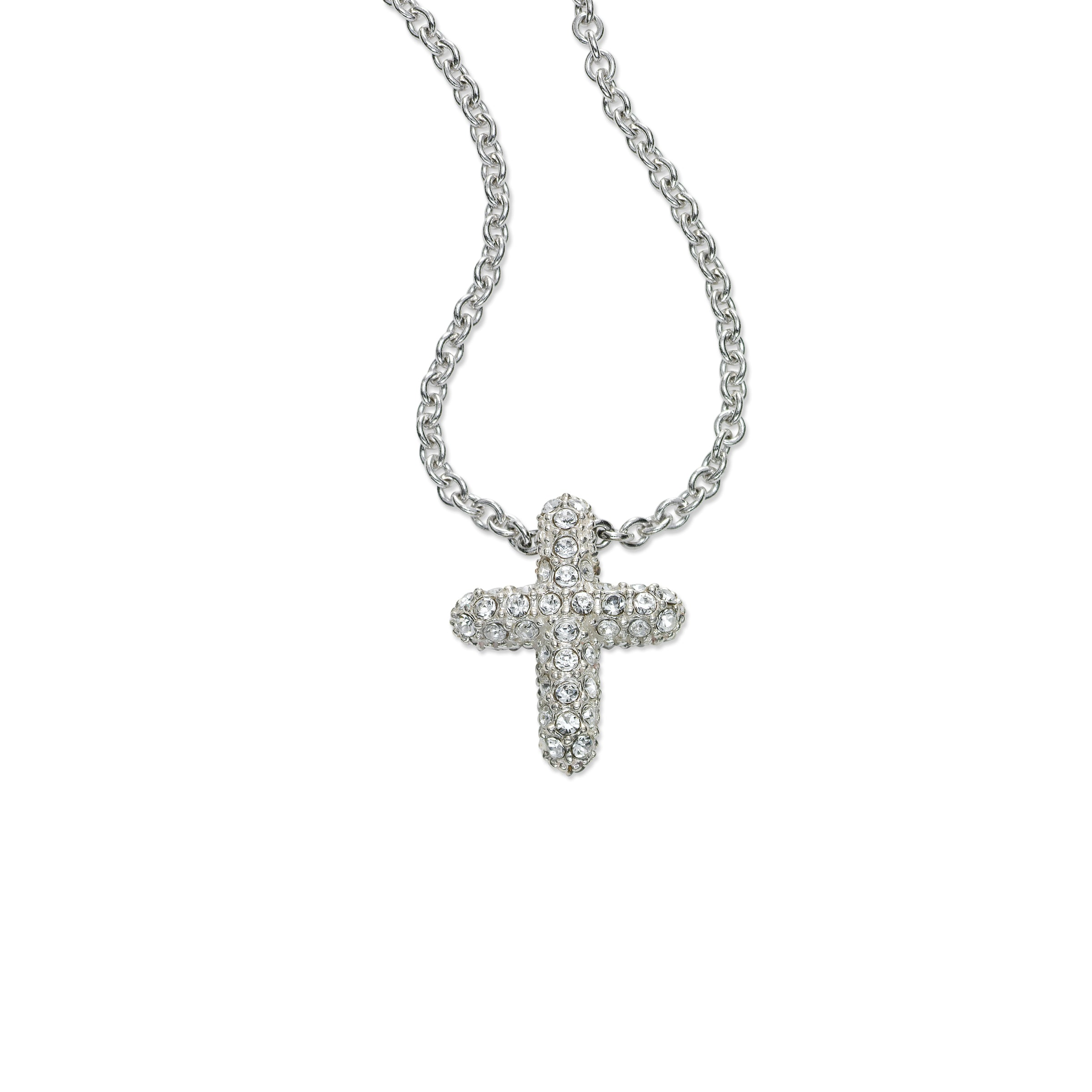 Petite Marcasite and Crystal Cross, Sterling Silver