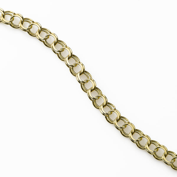 Traditional Double Link Charm Bracelet, 14 Karat Yellow Gold