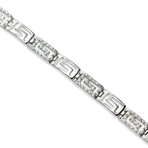 Cubic Zirconia Greek Key Bracelet, Sterling Silver