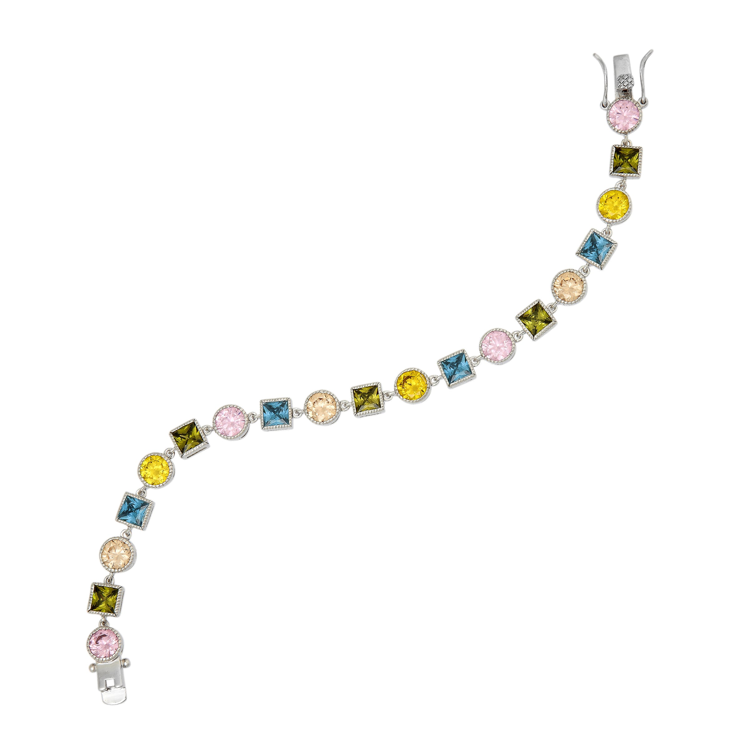Multi-Color CZ Bracelet, Sterling Silver