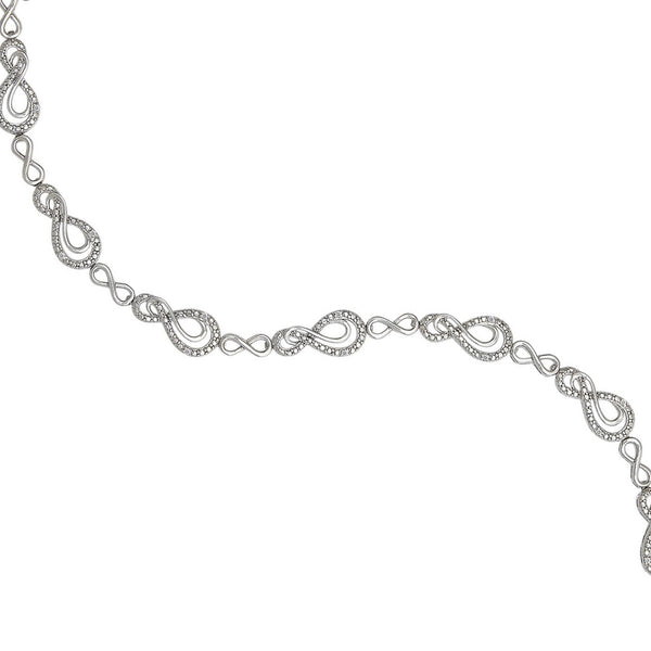 Figure Eight Link Diamond Bracelet, Sterling Silver