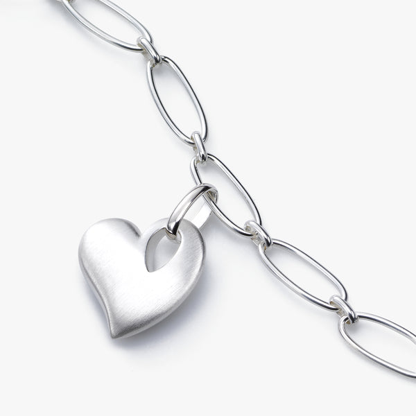 Satin Finish Heart Charm Bracelet, Sterling Silver, 7.75 Inches Long