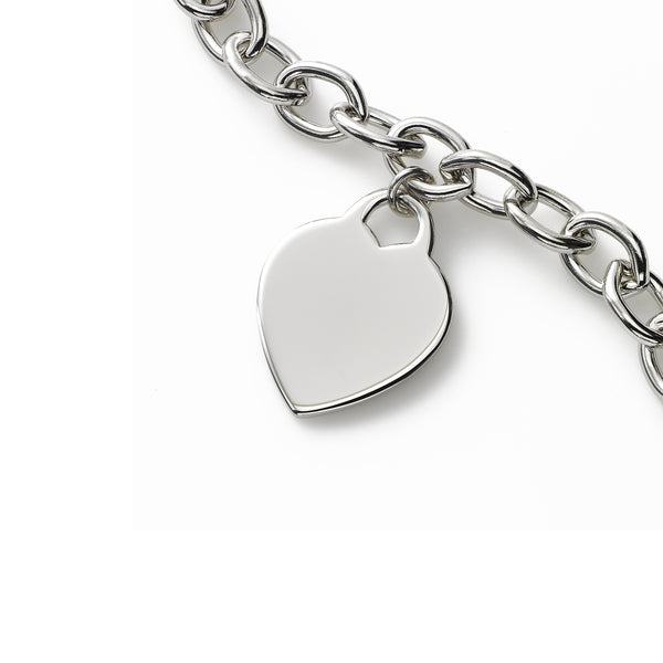 Dangling Heart Charm Bracelet, Sterling Silver, 8 Inches Long