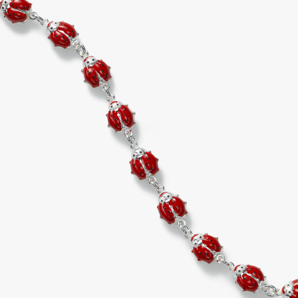 Red Ladybug Bracelet, Sterling Silver, 6.50 inches
