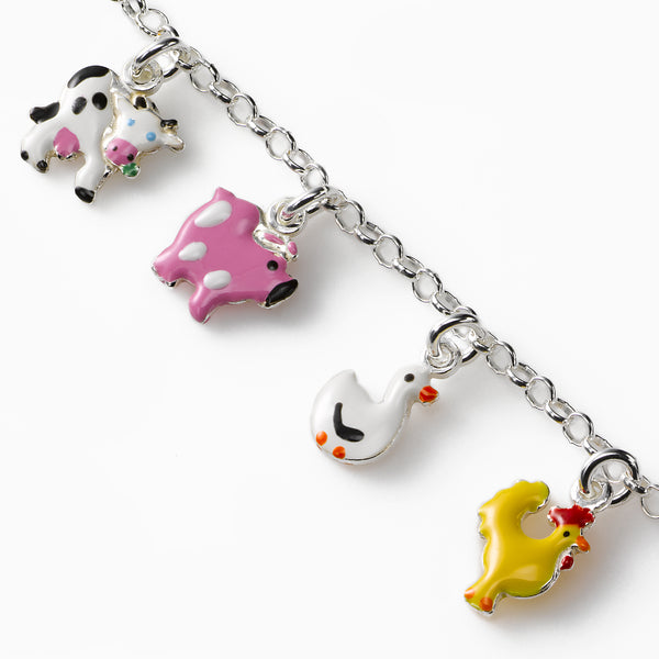 Farm Animal Bracelet, Sterling Silver, 5.50 inches