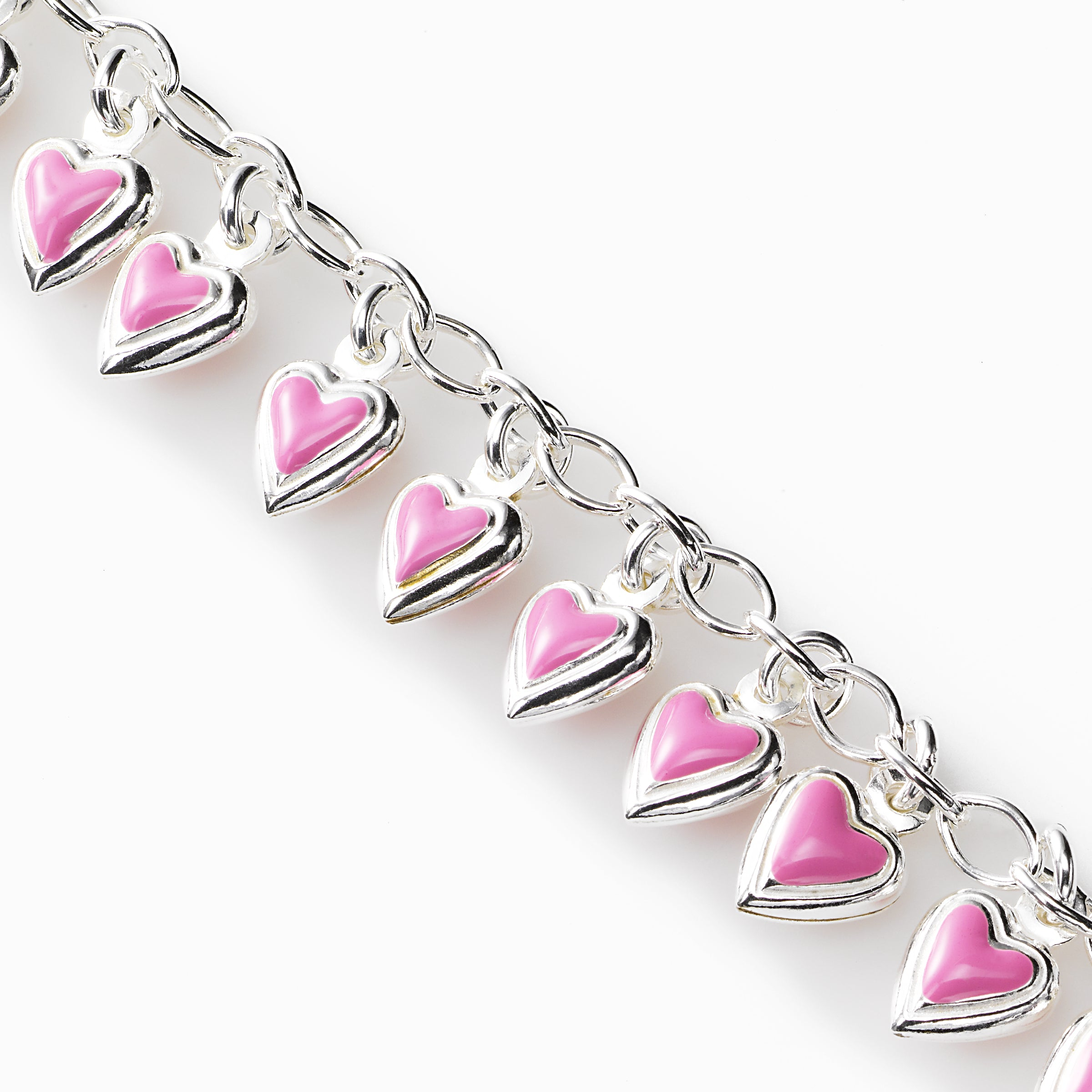 Child's Pink Heart Bracelet, Sterling Silver, 6.50 inches