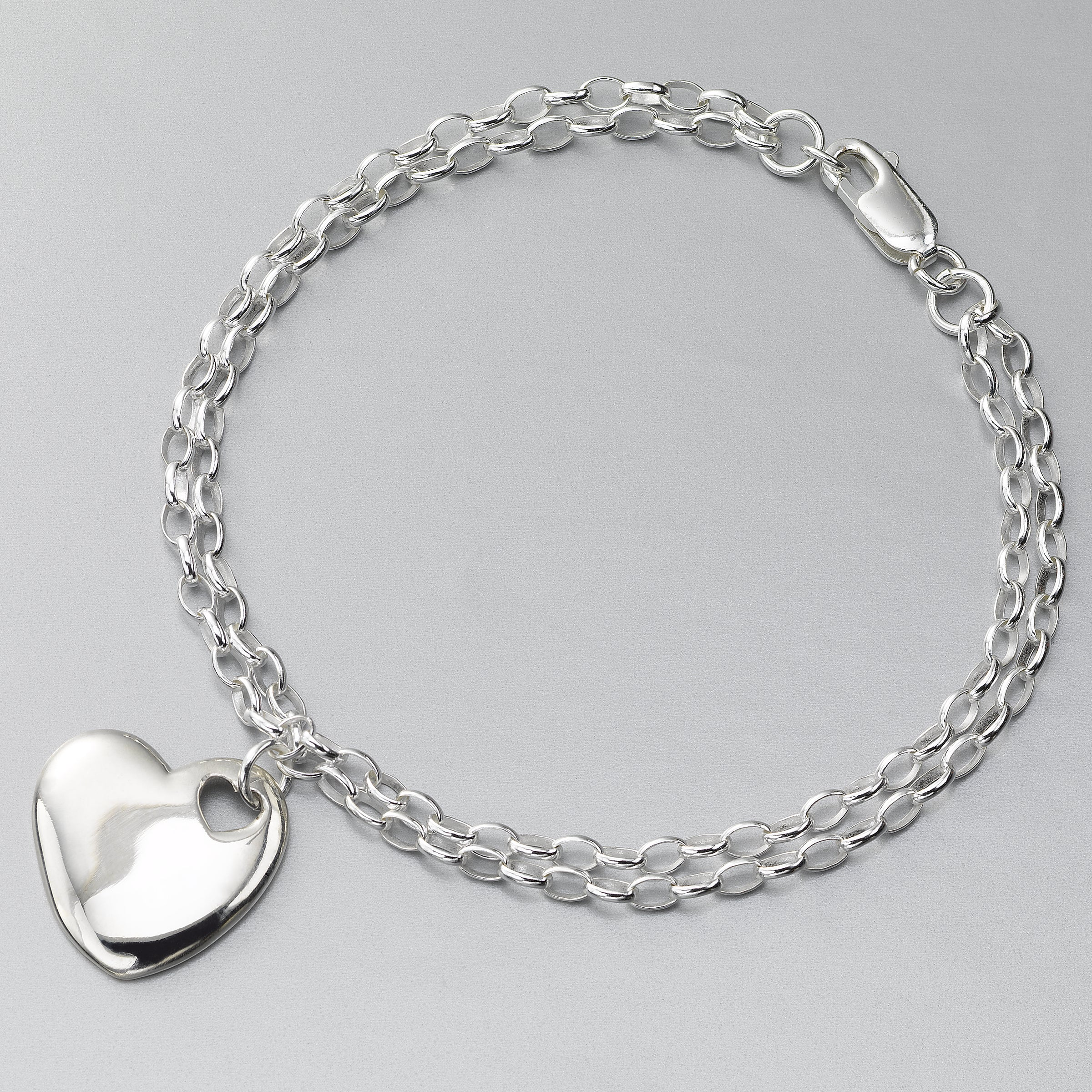 Heart Charm Bracelet with Double Rolo Link Chain, Sterling Silver, 7.5 Inches