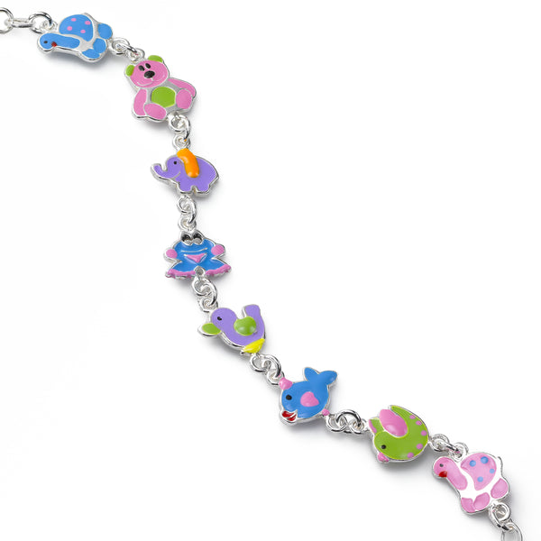 Kids Multi Color Animal Link Bracelet, Sterling Silver, 6.50 inches