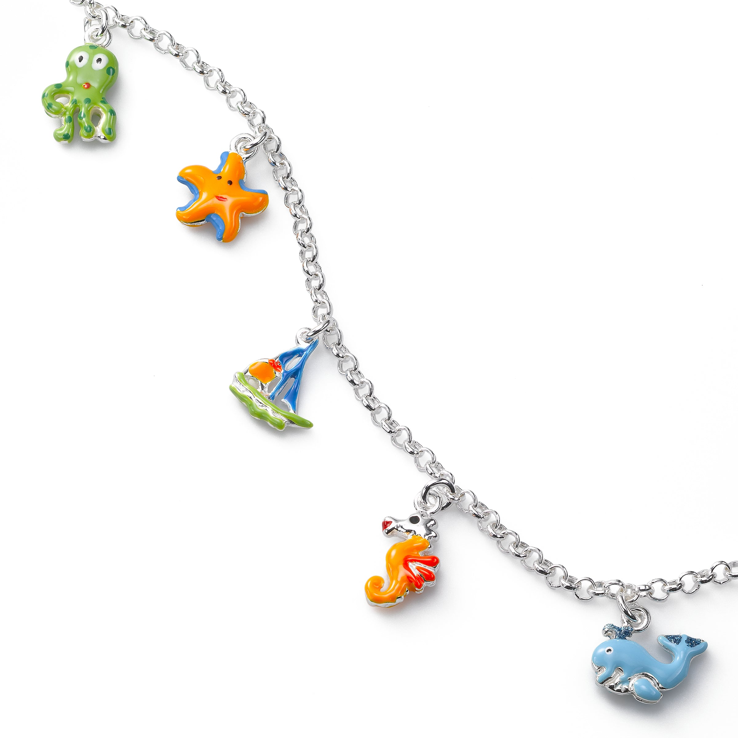 Kids Colorful Enamel Sealife Charm Bracelet, Sterling Silver, 6.50 inches