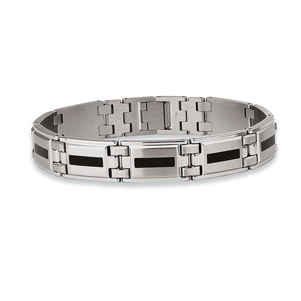 Black Enamel Men's Bracelet, 8.75 Inches, Stainless Steel