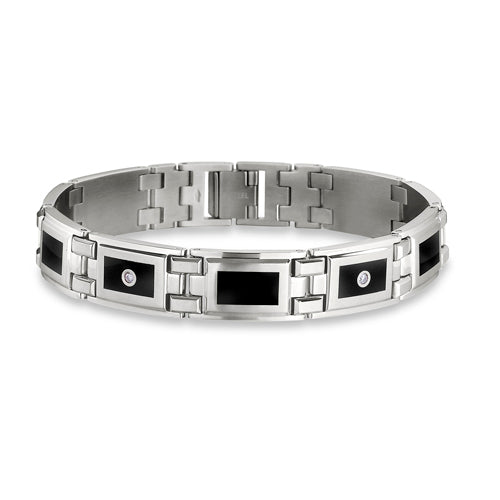 Enamel and Diamond Men's Link Bracelet, 8.75 Inches, Stainless Steel