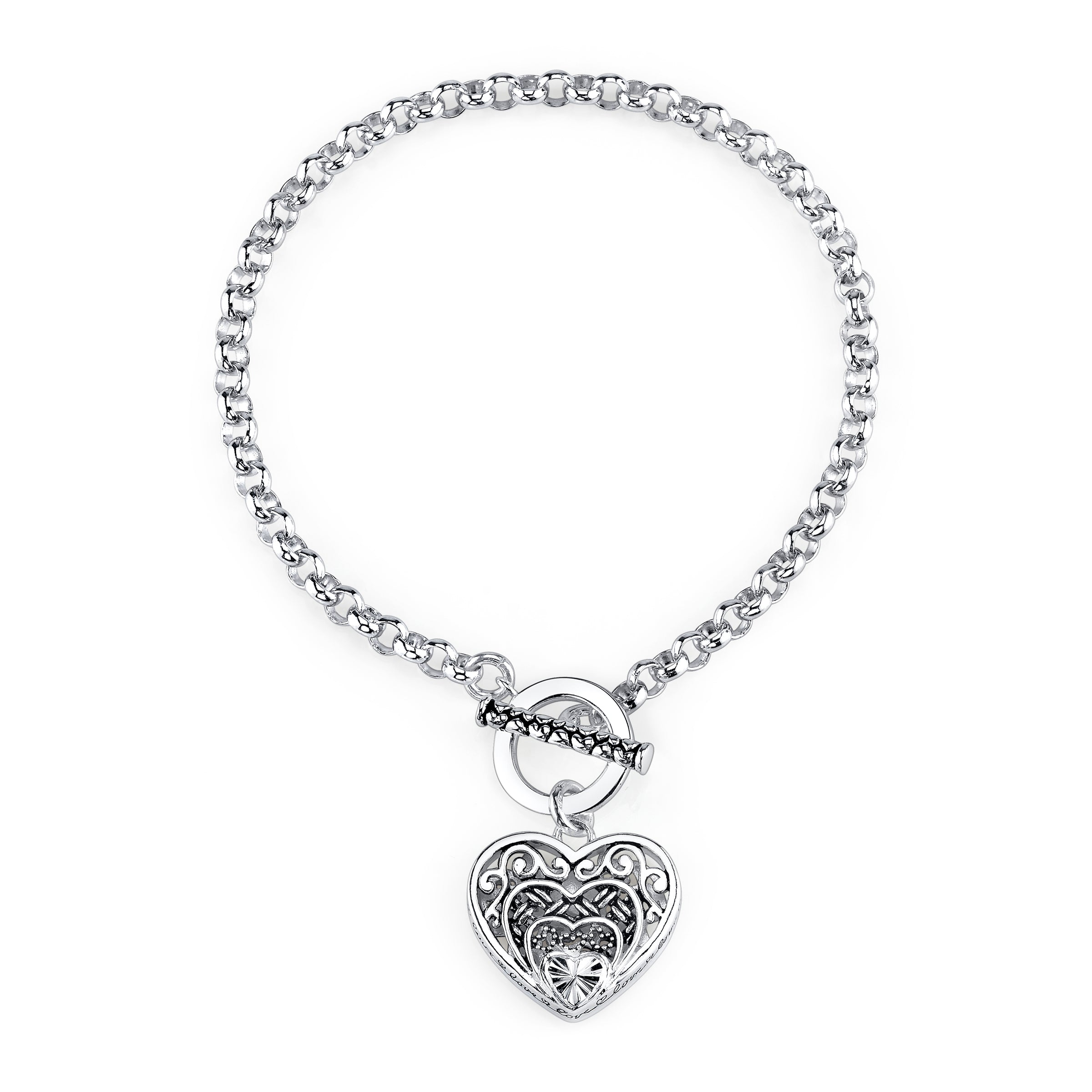 Textured Heart Charm Bracelet, Sterling Silver