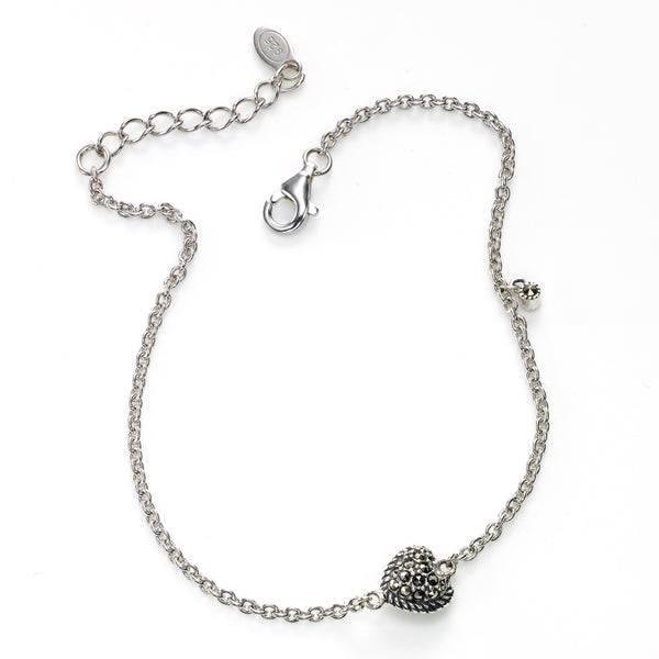 Small Marcasite Heart Charm Bracelet, Sterling Silver