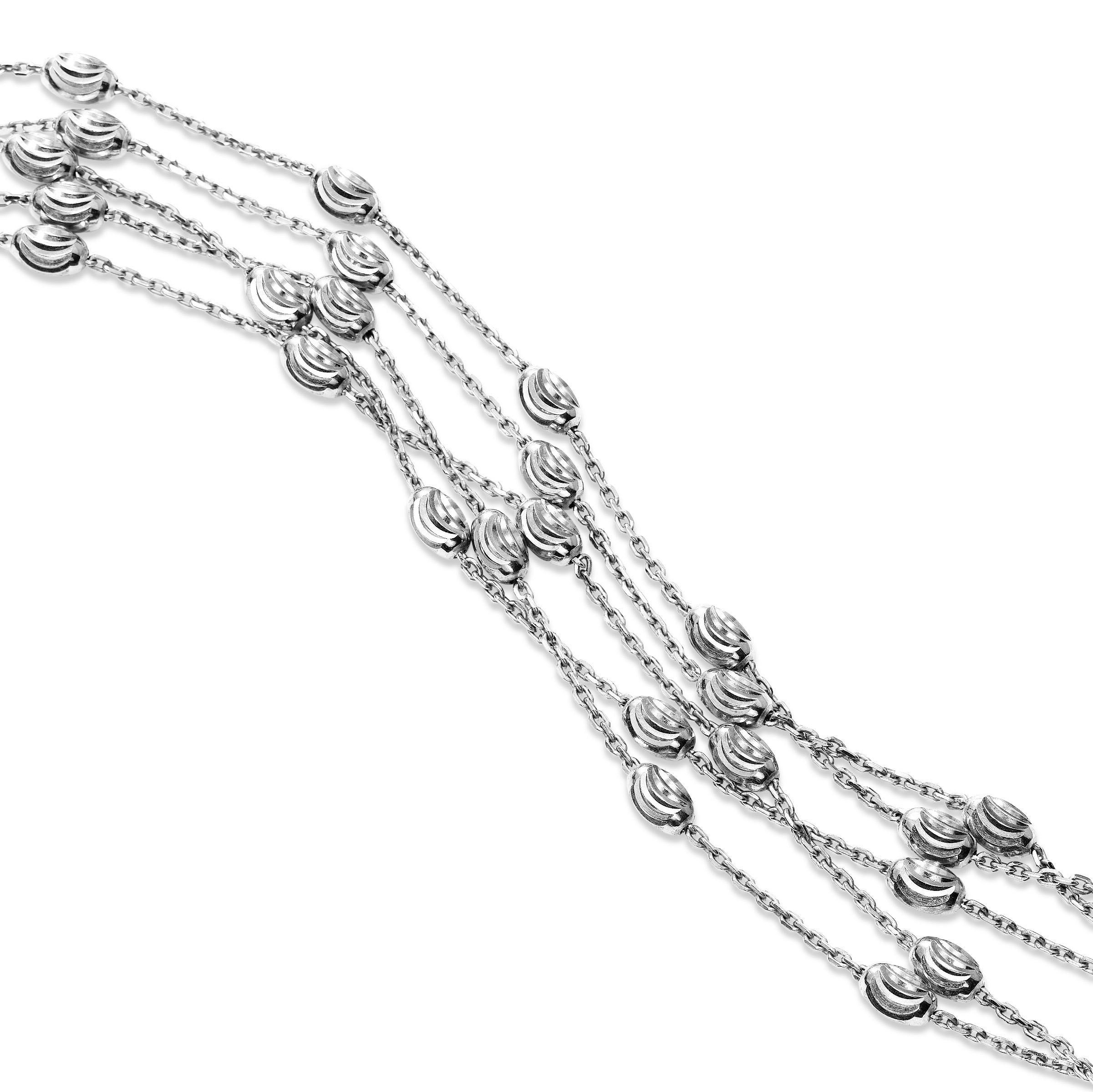 Five Strand Bead Bracelet, Sterling Silver with Rhodium Plating