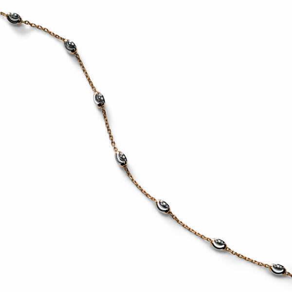 Oval Bead Ankle Bracelet, Sterling with 18K Rose Gold Plating