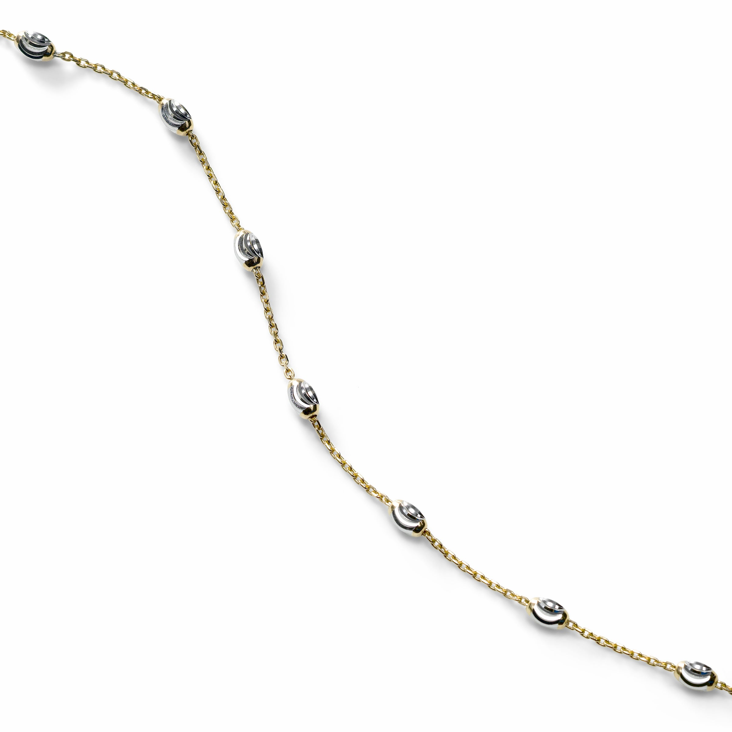 Oval Bead Ankle Bracelet, Sterling with 18K Yellow Gold Plating