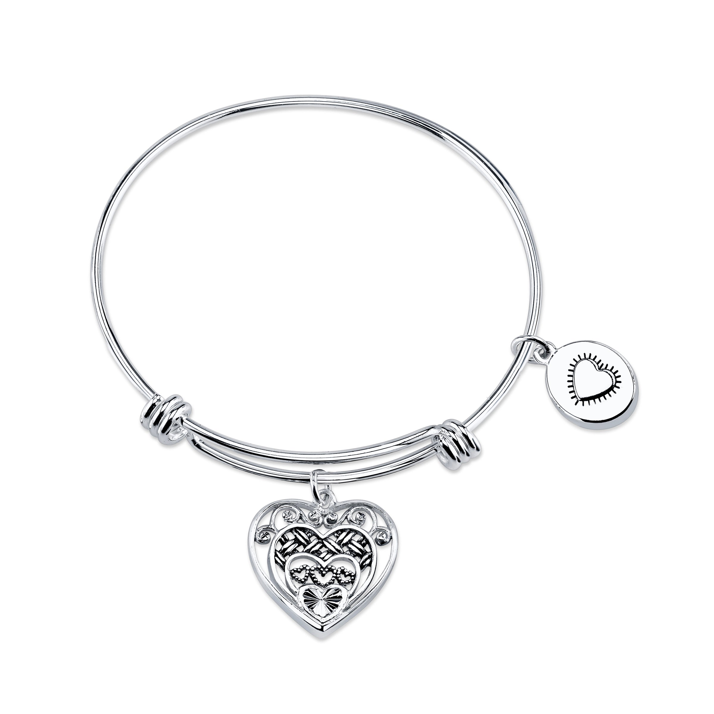 "Layers of Love ""Straight From The Heart"" Bangle, Sterling Silver"