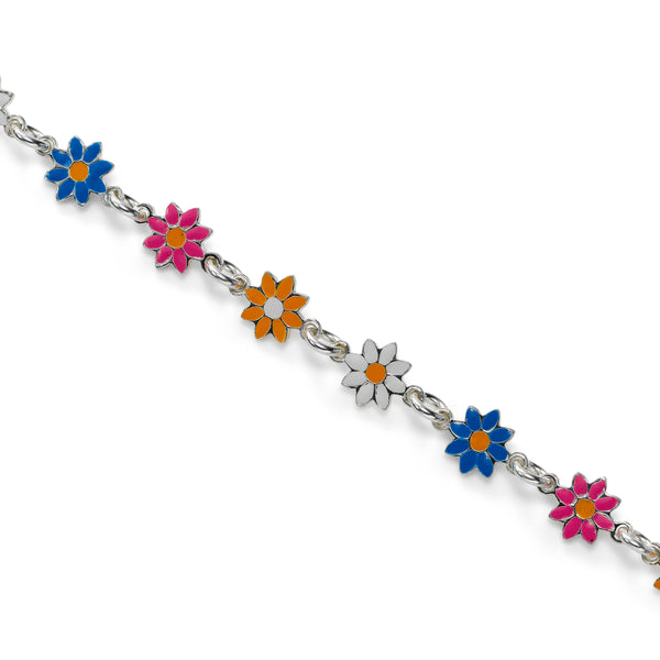 Fancy Daisy Flower Bracelet, Sterling Silver