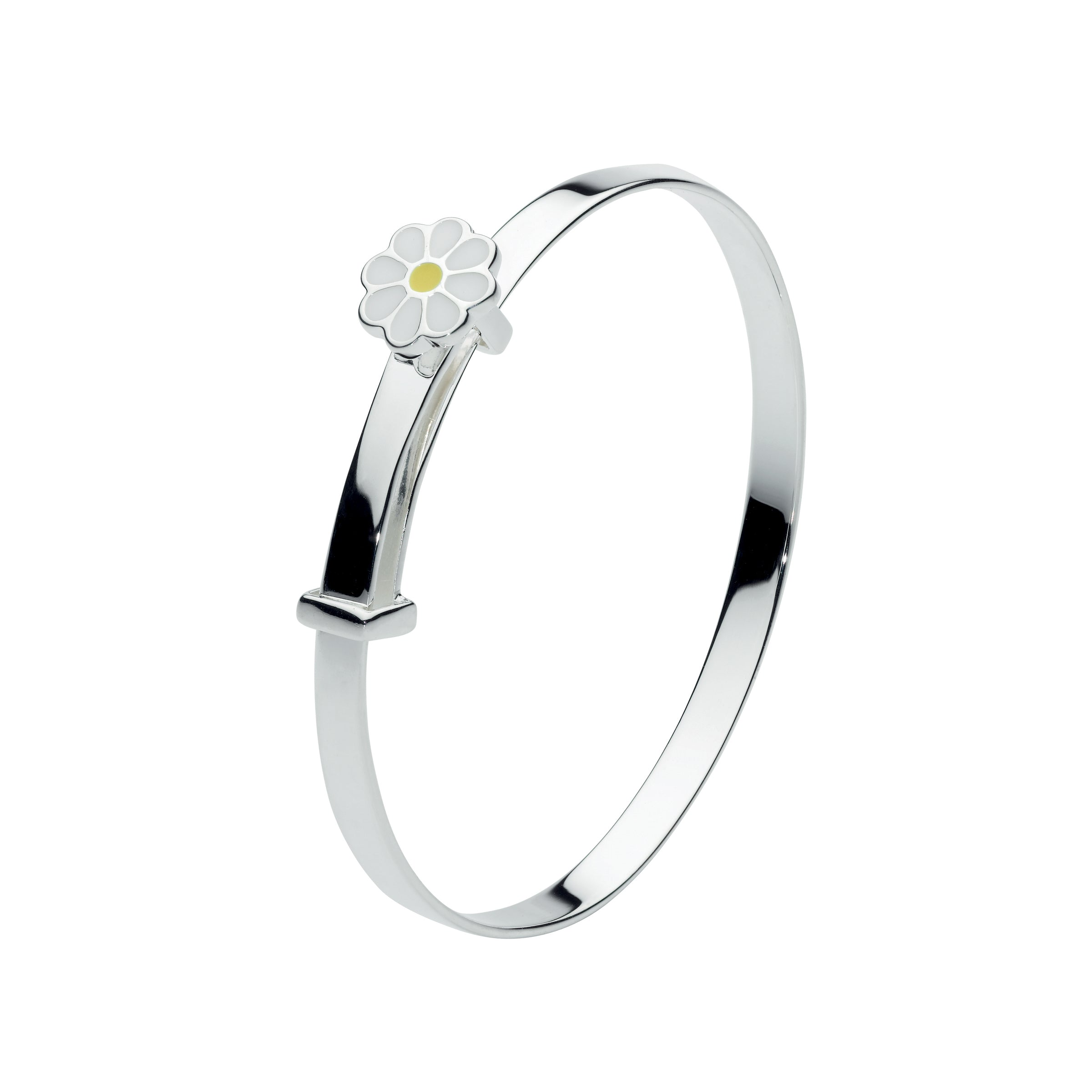 Children's Bangle Bracelet with Enamel Daisy, Sterling Silver