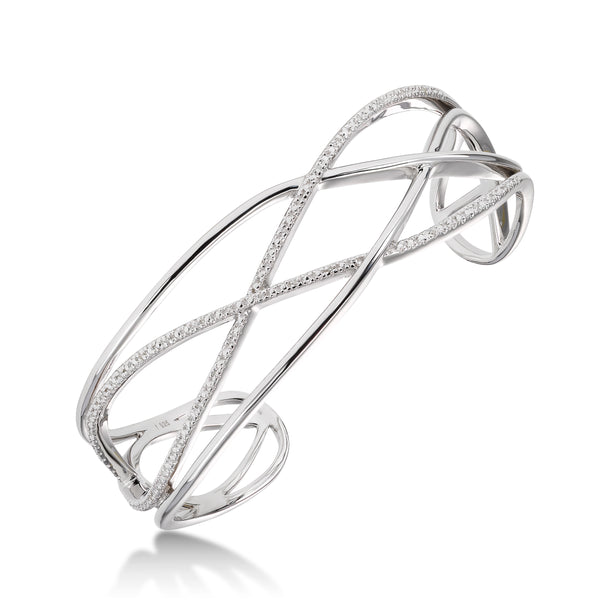 Open Design Diamond Cuff Bracelet, Sterling Silver