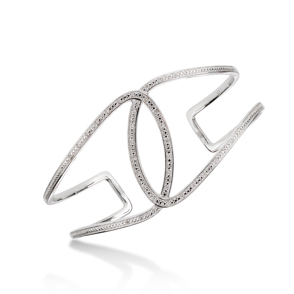 Interlocking Diamond Cuff Bracelet, Sterling Silver